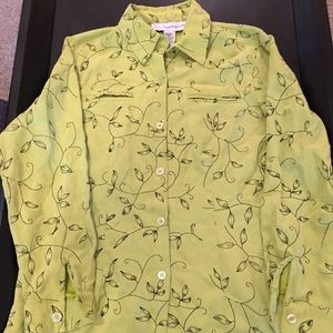 Pre-Owned. Sag Harbor Green Suede Blouse